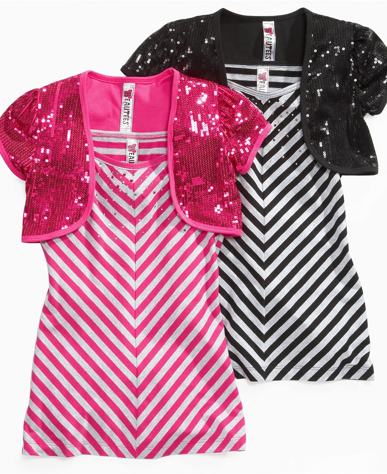 740e2e7cd Beautees Kids Shirt, Girls Striped Tank and Shrug - Kids Girls 7-16 - Macy's