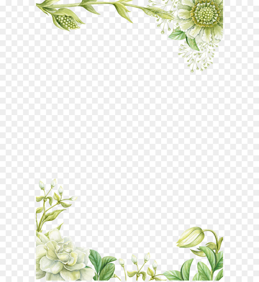 Green Flowers Border Design Png Download 3543 5315 Free Transparent Flower Png Download Flower Painting Flower Border Flower Png Images