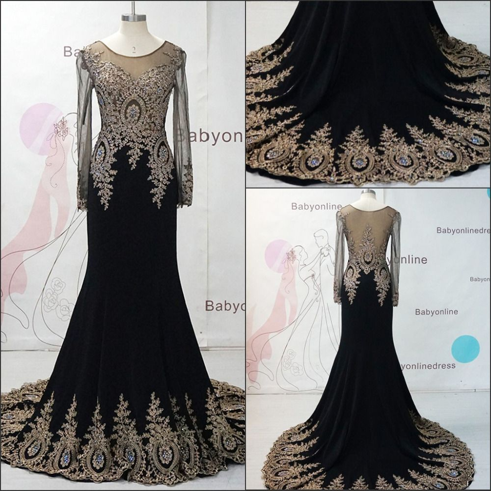 Black dress gold lace - Black Long Sleeves Lace Prom Dresses Gold Lace See Through Mermaid Prom Dress