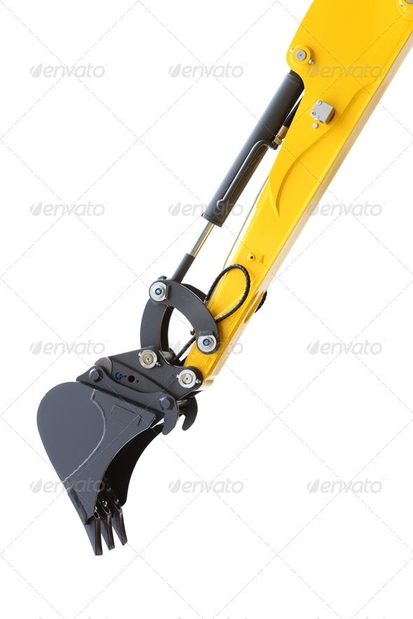 Excavator Hydraulic Arm Project : Digger excavator isolated on white background arm