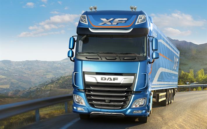 Download Wallpapers Daf Xf 4k 2017 Trucks Road New Daf Xf Blue Xf Daf Besthqwallpapers Com Kenworth Trucks Luxury Bus Truck Design