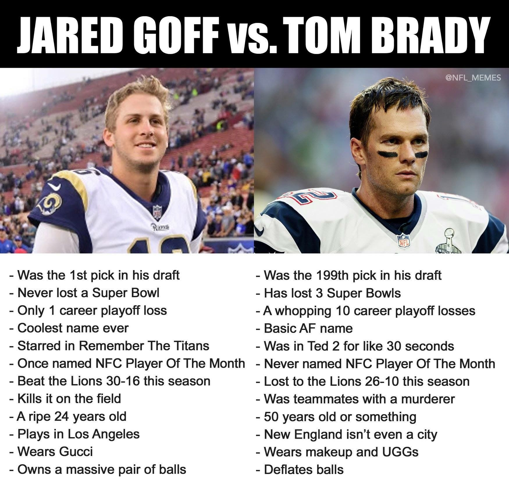 Pin By April Addington On Nfl Memes Jared Goff Nfl Memes Tom Brady Nfl
