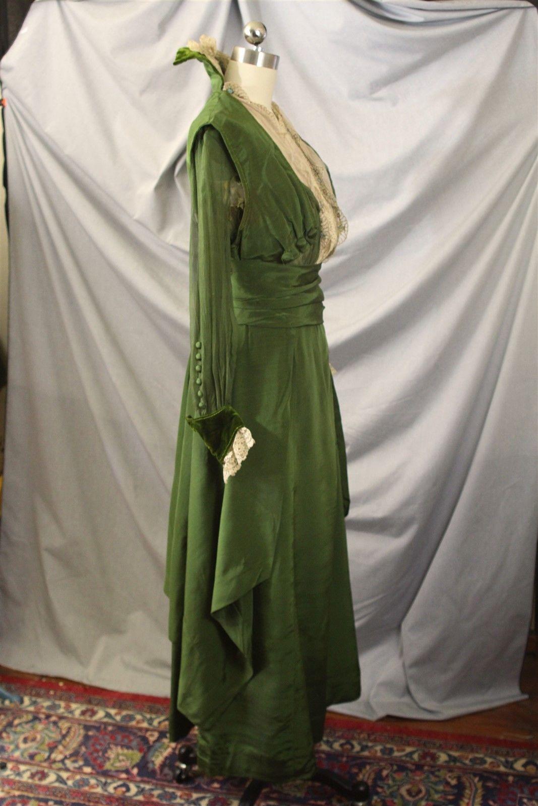 Edwardian green silk faille u chiffon metallic lace dress antique
