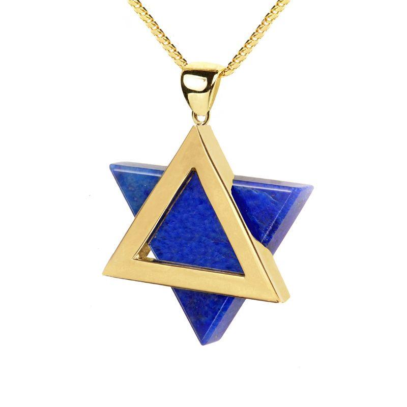 Star of David 14K Gold Lapis Lazuli Pendant Jewish Jewelry