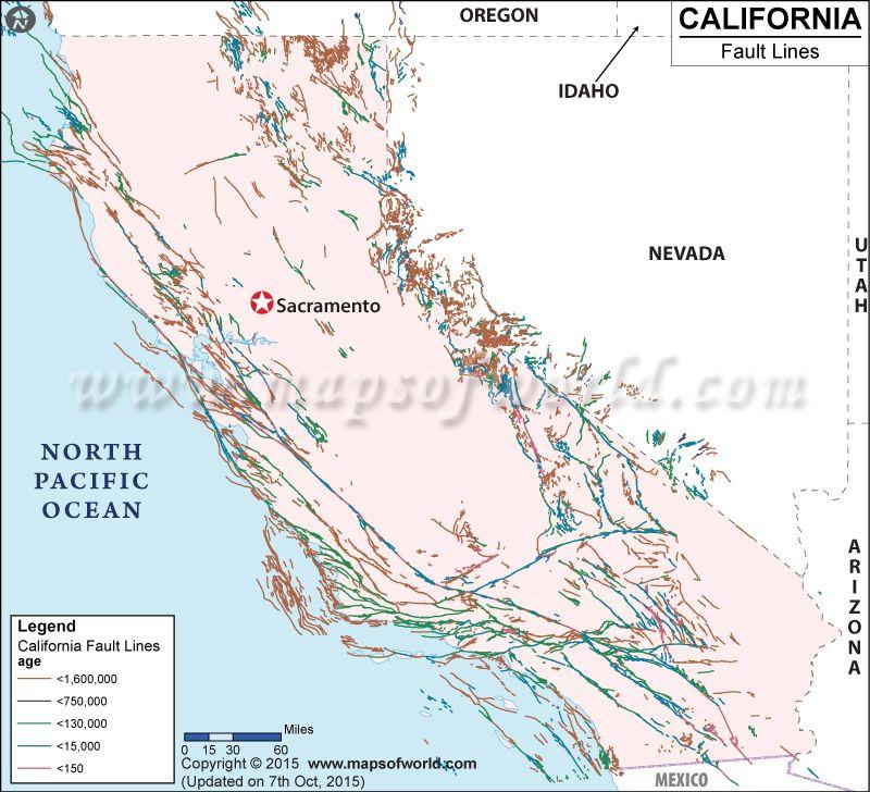 California fault lines map World information Pinterest