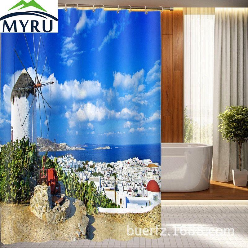 Myru 3d Greek Aegean Sea Shower Curtain Custom Printed 3d Shower Curtain Waterproof Curtain For Bathroom Waterproof Curtain Bathroom Curtains Shower Curtain