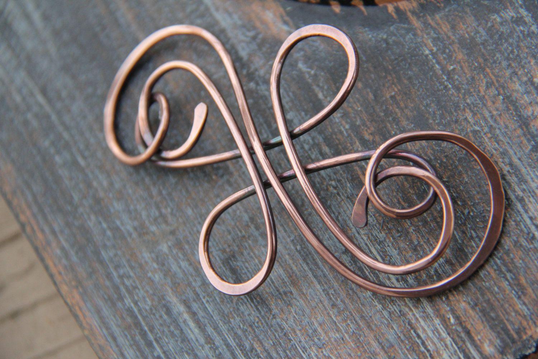 Hair slide, hair barrette, hair pin, oxidized copper hair slide ...