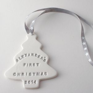 babys first christmas ceramic tree decoration personalised