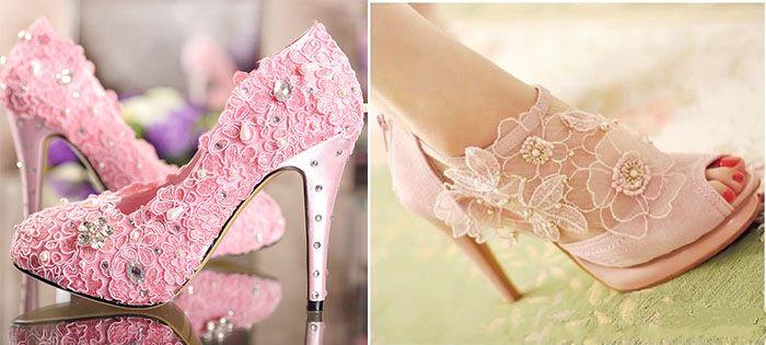Beautiful Pink Lace Wedding Shoes