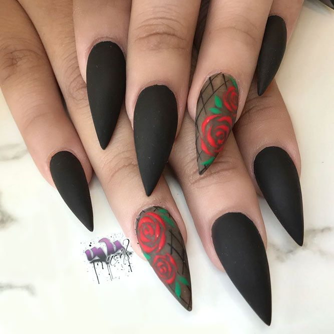 New Fearless Combinations With Black Stiletto Nails Nails