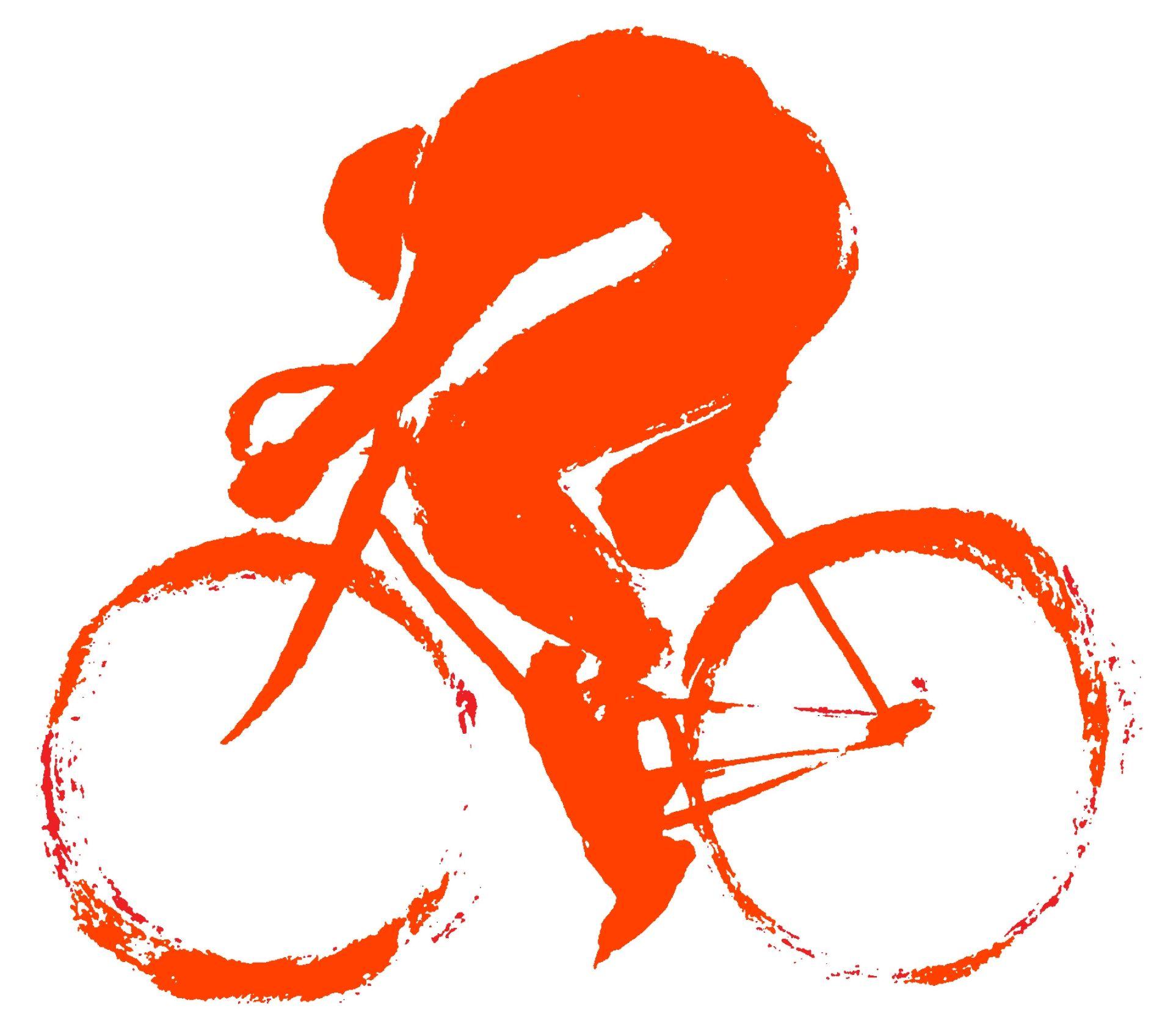 Orange Cycling Art Bicycle Art Bike Art