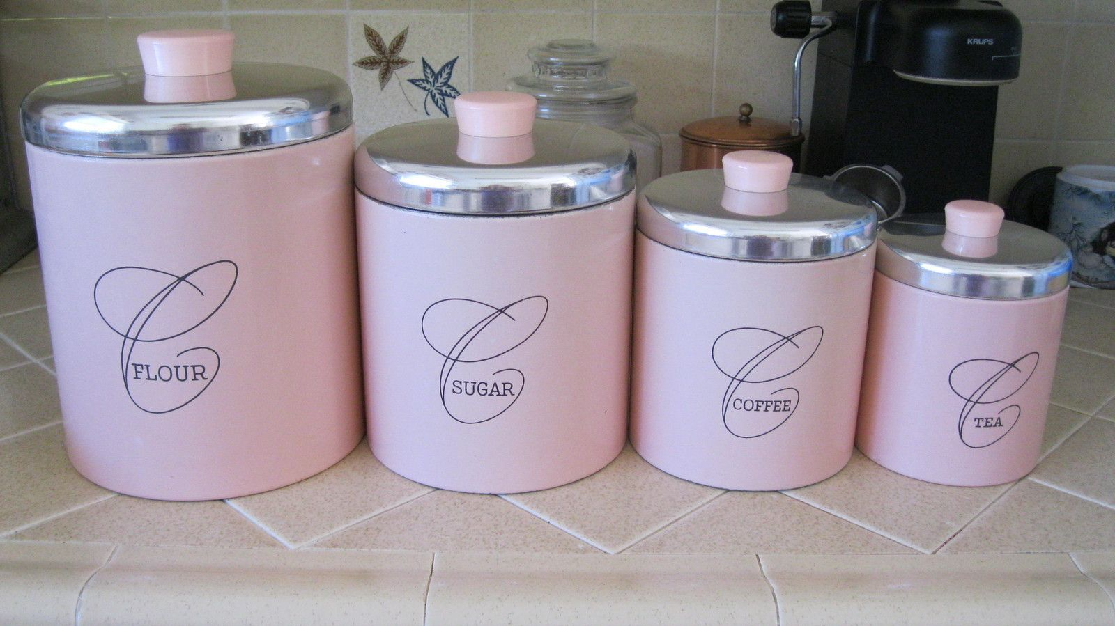 Vintage Pink Chrome Flour Sugar Coffee Tea Ransburg Canister Set