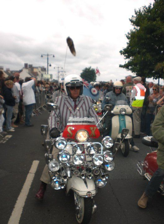 Mod on his scooter partaking in Isle Of Wight Scooter Rally Sunday rideout 2010 # # #