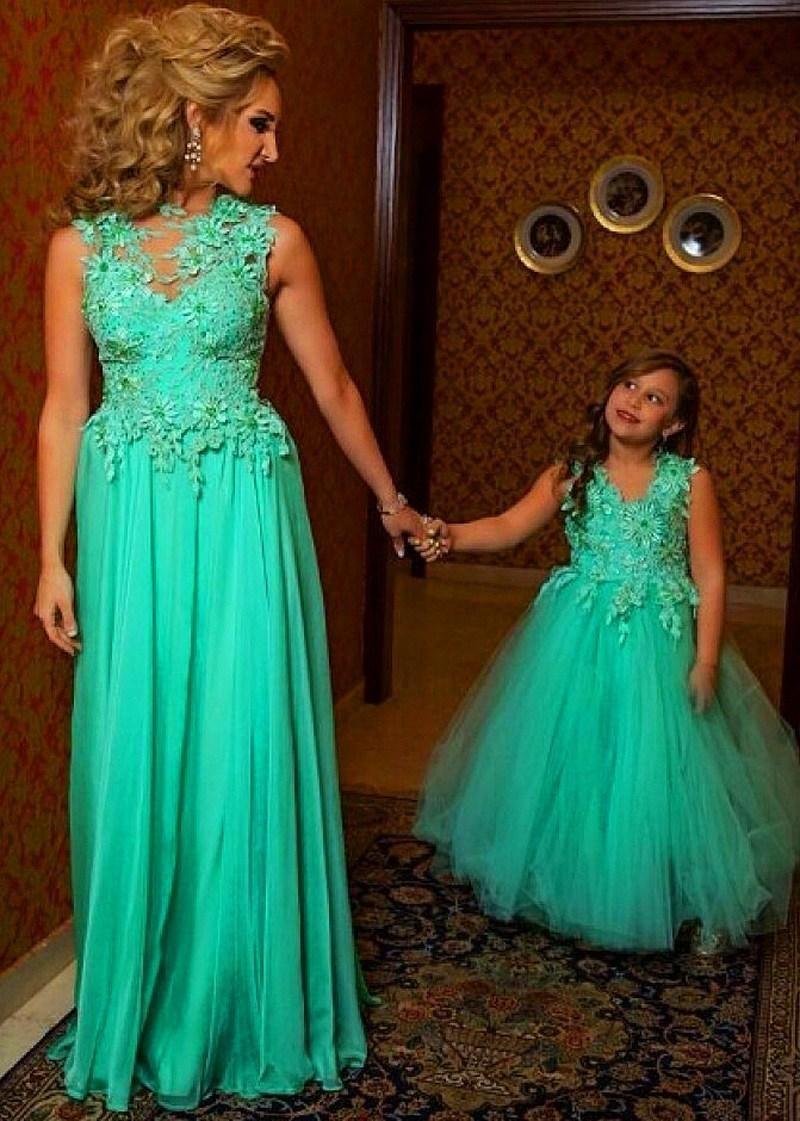 2015 Vestido longo Special Occasion Dresses Green Tulle Appliqued ...