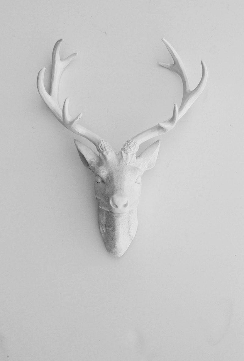 Faux deer head faux taxidermy the eloise white resin deer faux deer head faux taxidermy the eloise white resin deer head white deer antlers mounted faux head wall mount amipublicfo Choice Image