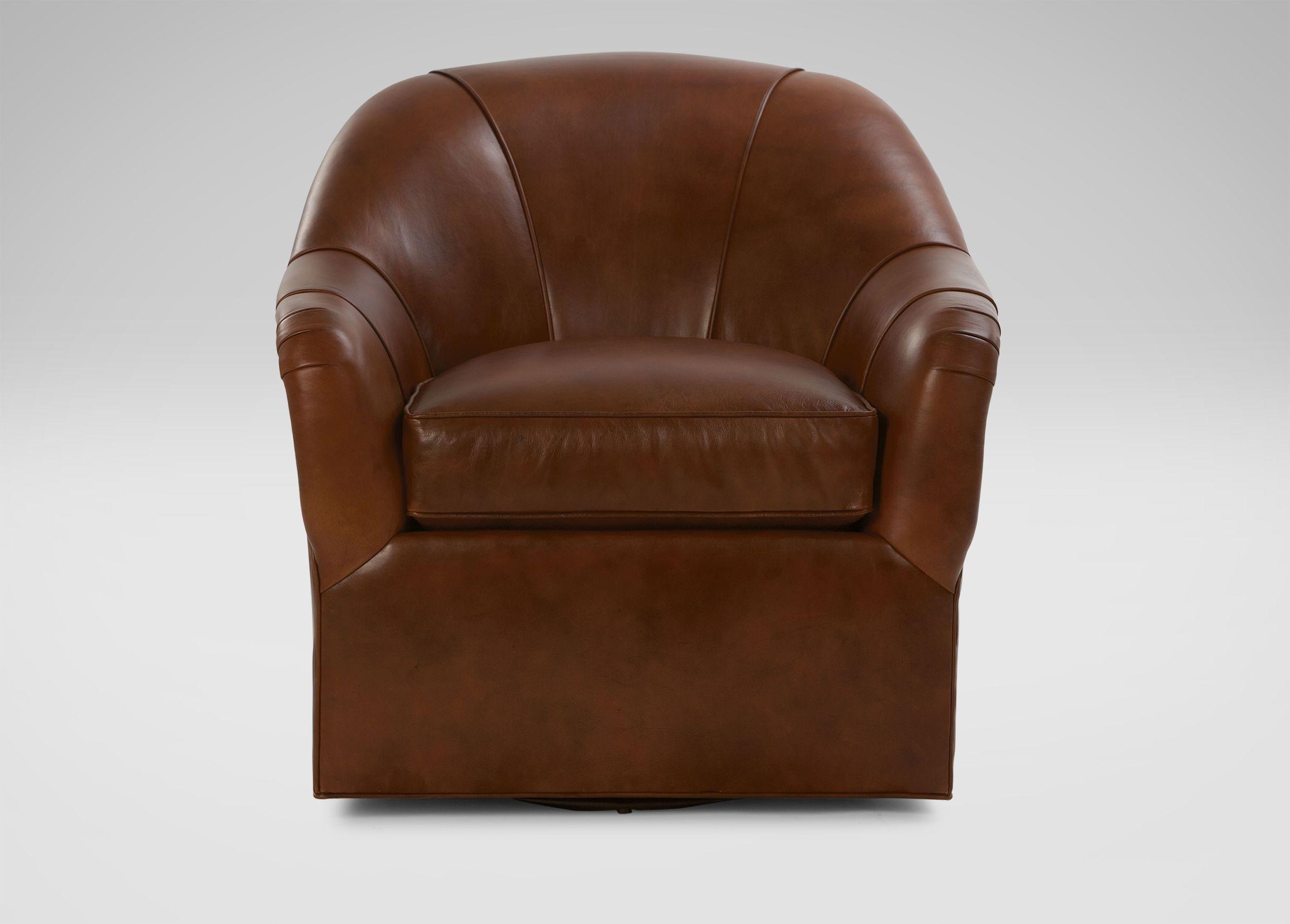 Marino Swivel Leather Chair Ethan Allen living room