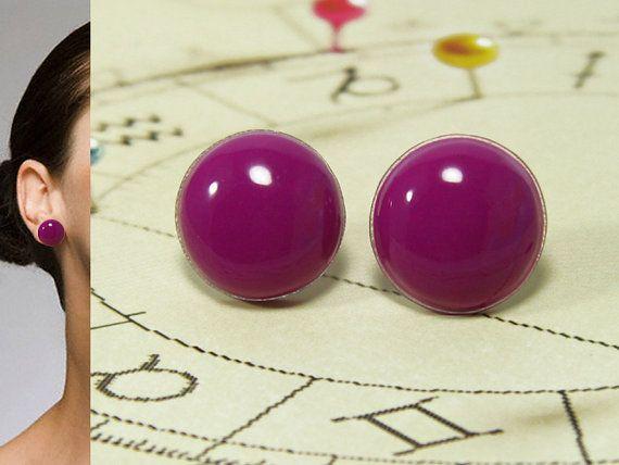 Fuchsia Stud Earrings 20 mm  Bright Stud Earrings  Post by biesge, $14.90