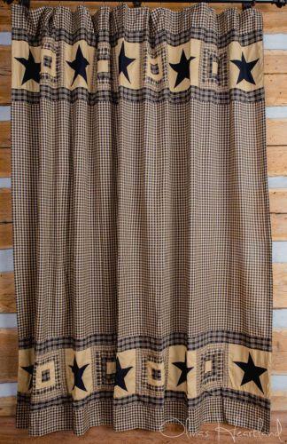 Primitive Black Star Shower Curtain Olivias Heartland Country Bath