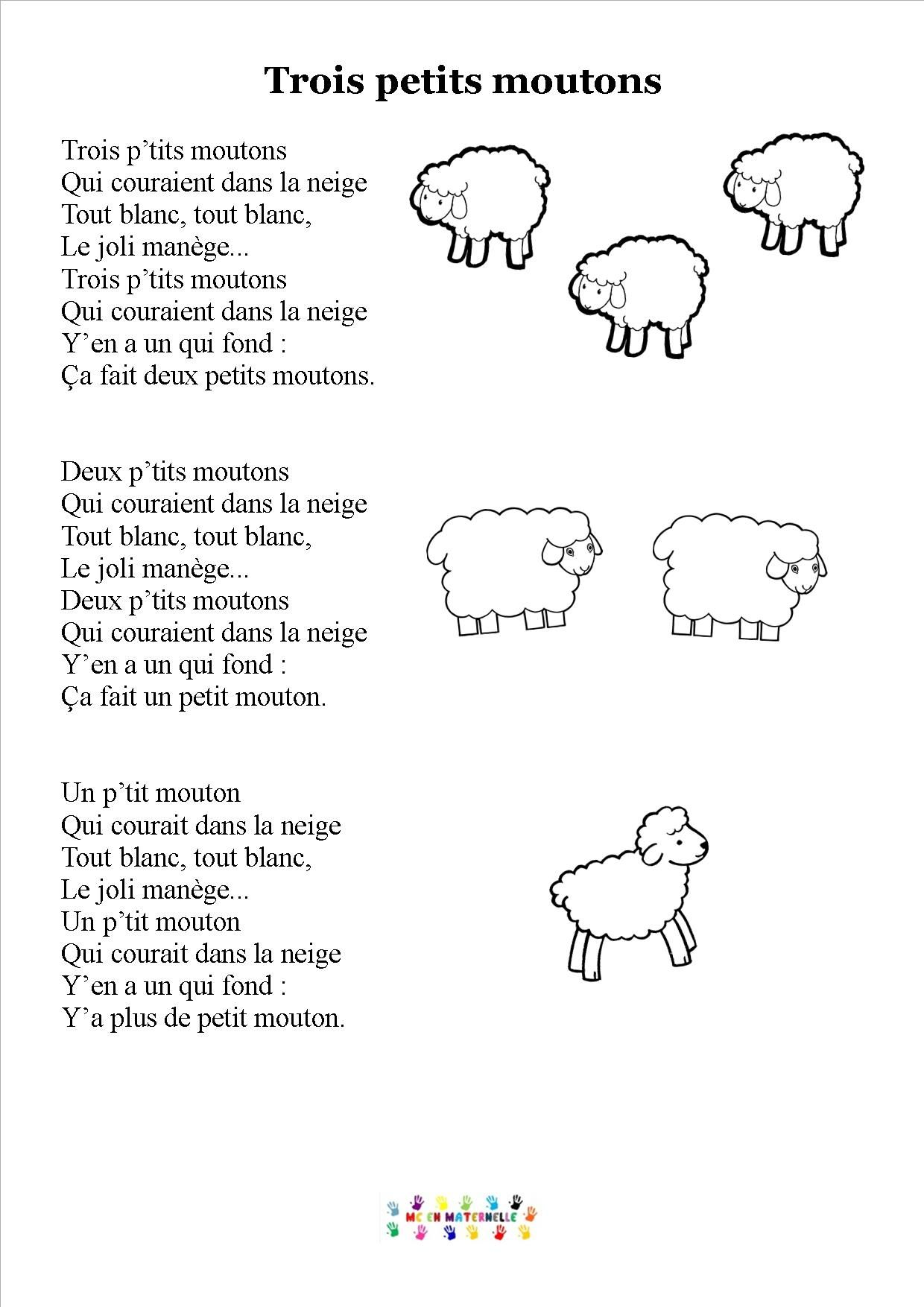 Trois Petits Moutons Chansons Comptines Comptines Et Comptines
