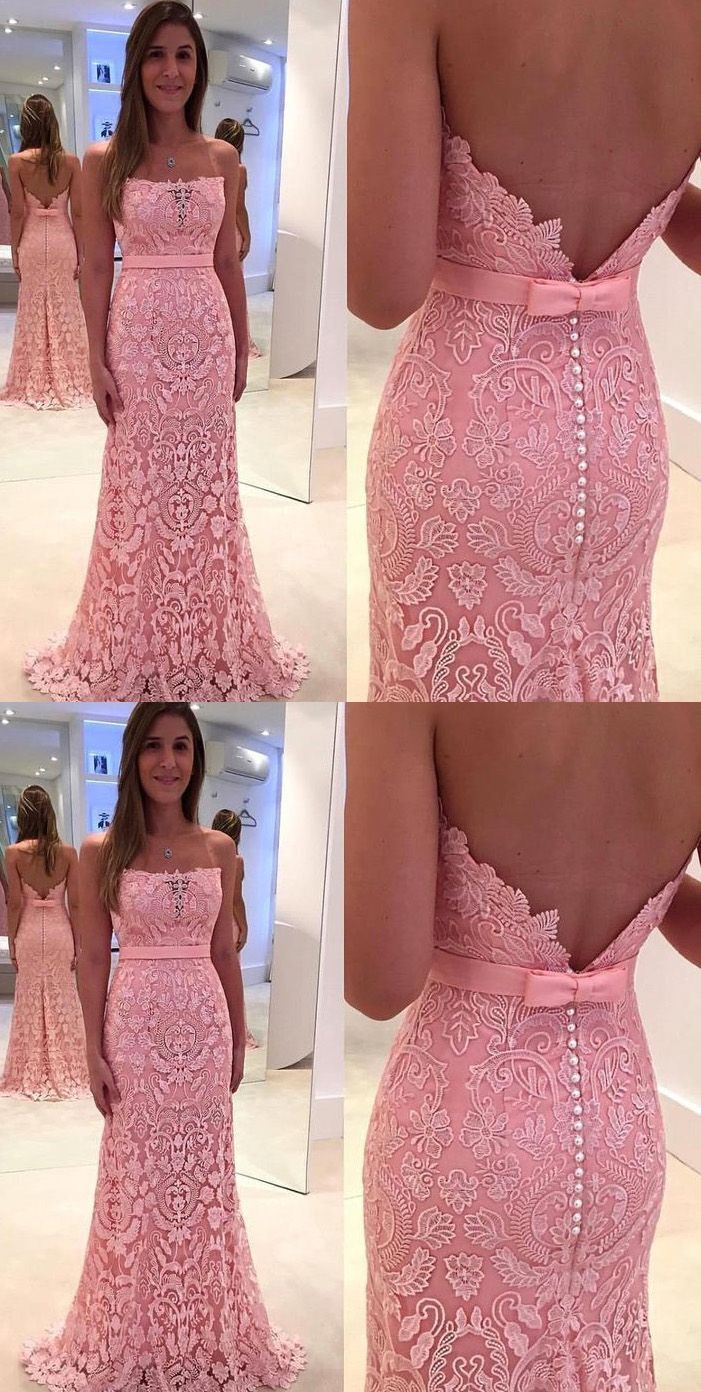 Custom made mermaidtrumpet evening prom dresses long pink dresses