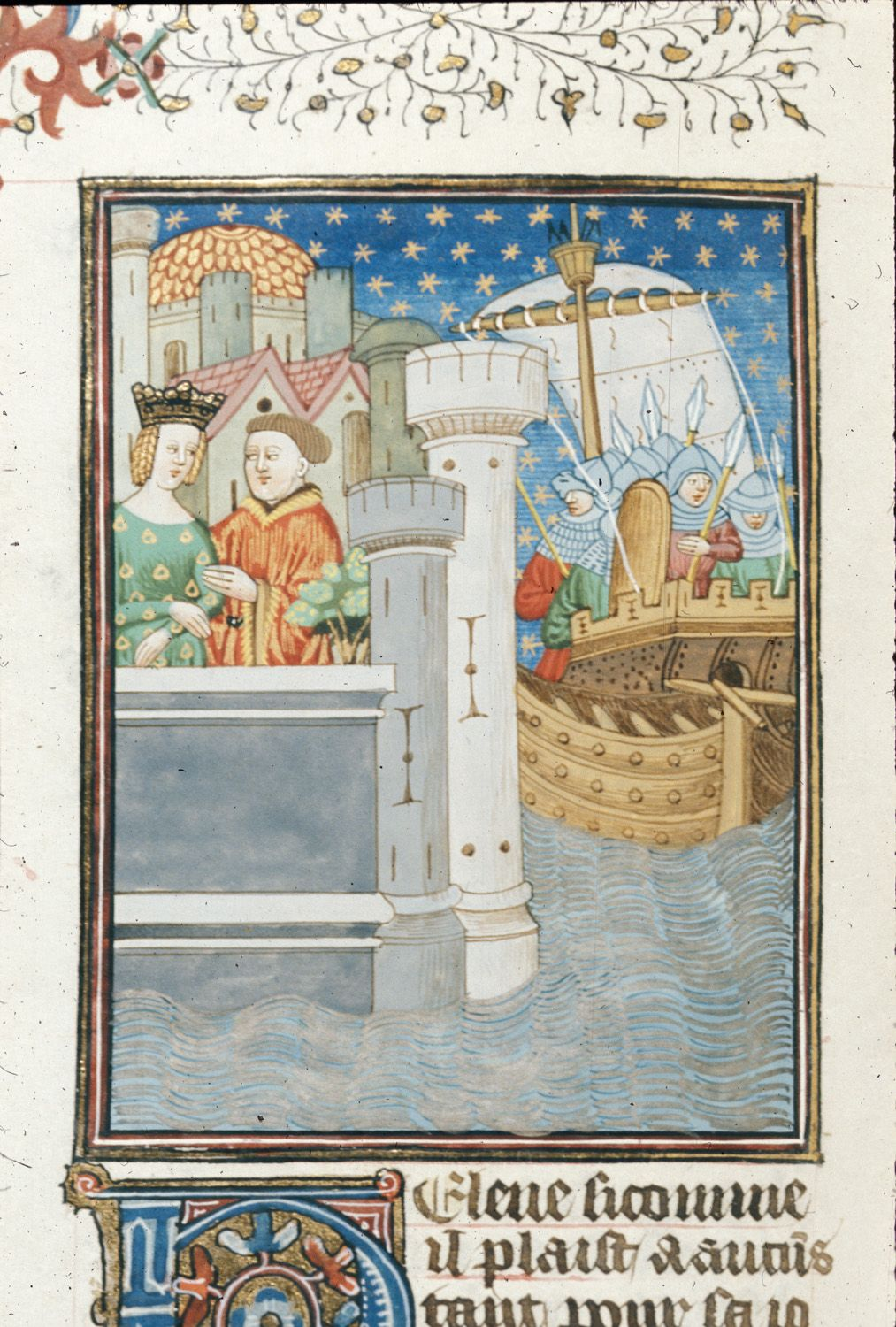 Helen and Paris in a castle, and a ship without, by the Talbot Master. From Boccacio, de mulieribus claris/Le livre de femmes nobles et renomées (trad. anonyme), c. 1440, northern French (Rouen). British Library, Royal 16 G V   f. 39v