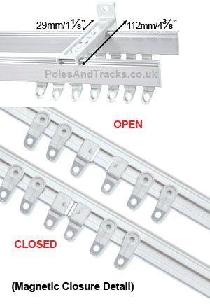 Superline White Aluminium Double Track Set Bay Window Curtain