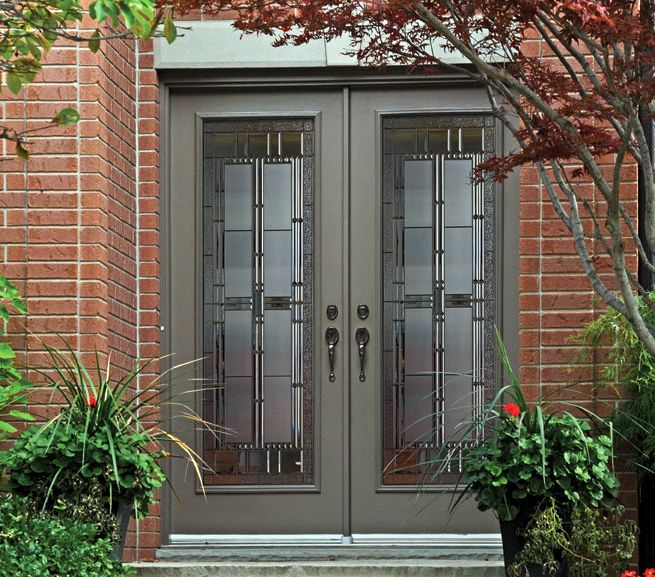 This A Beautiful Double Door System With Artisan Glass