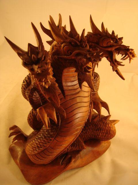 Bali Suar Wood 3 Headed Dragon Dragon Sculpture 3 Headed Dragon