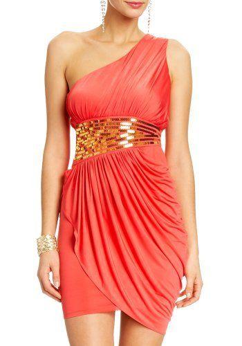 2B Lynn One Shoulder Sequin Dress 2b Night Dresses Fruit Punch-xl 2b by bebe,     $39.95