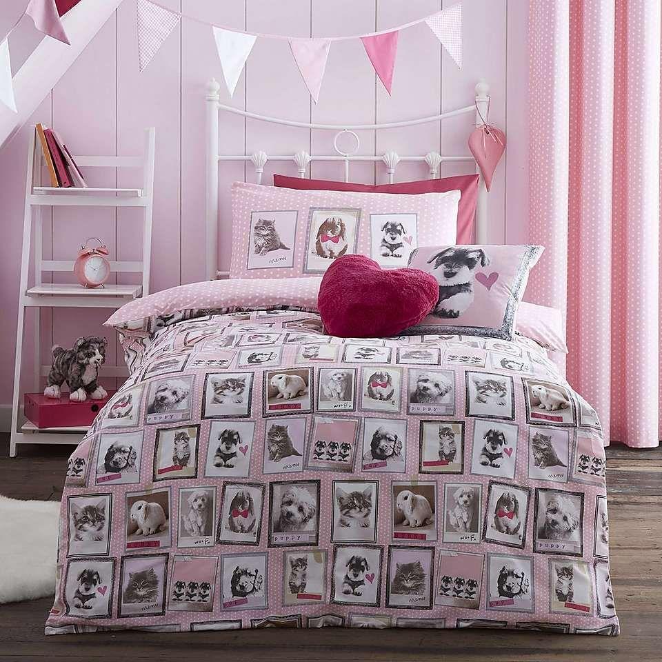 Fluffy Friends Pink Bed Linen Collection Dunelm Pink