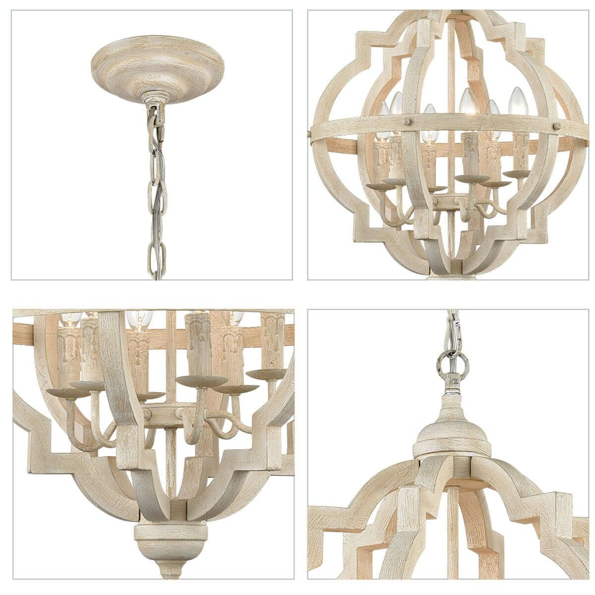 Distressed Off White Wooden Chandelier Sphere 6 Light In 2021 Wooden Chandelier Wood Pendant Chandelier Candle Chandelier
