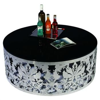VIG Furniture   Ambra Round Stainless Steel Coffee Table With Glass Top