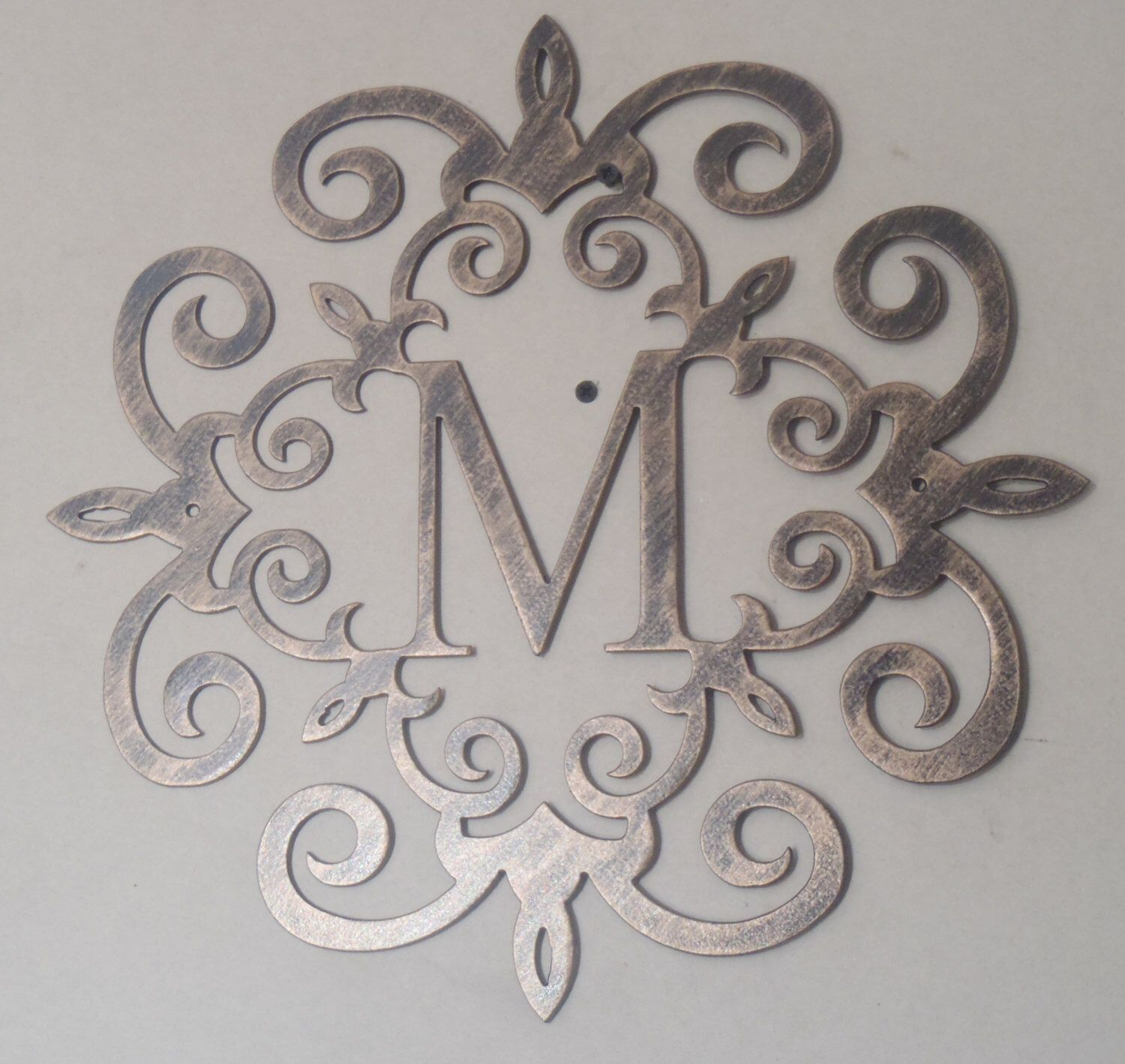 Family Initial Monogram Inside A Metal Scroll With Any Letter Wall Decor Art Color Black Coppery Antique Look Finish At Checkout