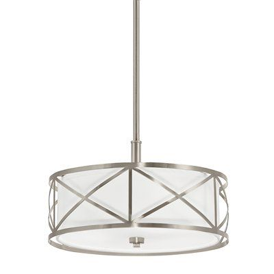 Lowes kichler lighting edenbrook w brushed nickel pendant light with fabric shade