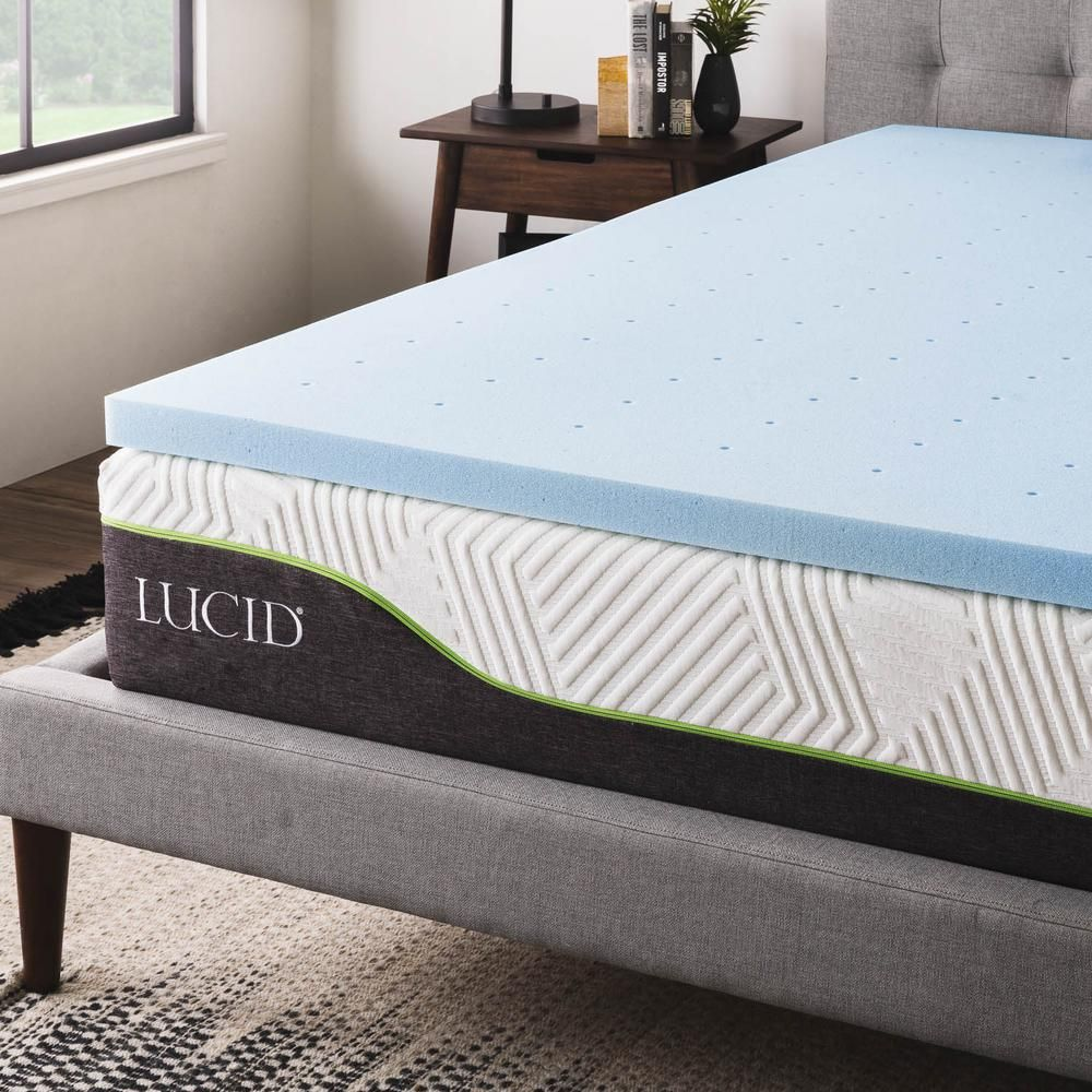 Lucid 2 In Queen Gel Infused Memory Foam Mattress Topper Blue Memory Foam Mattress Topper Thick Mattress Topper Mattress
