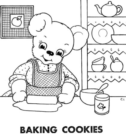 Homemaker Bear Childrens Vintage Coloring Book