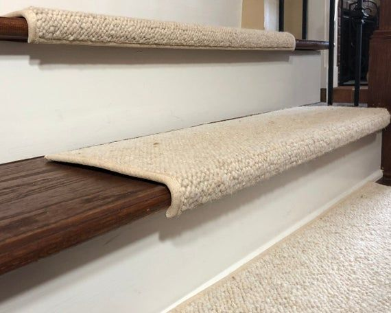 Best Padded Wool Carpet Stair Treads River Rock Reflection 400 x 300