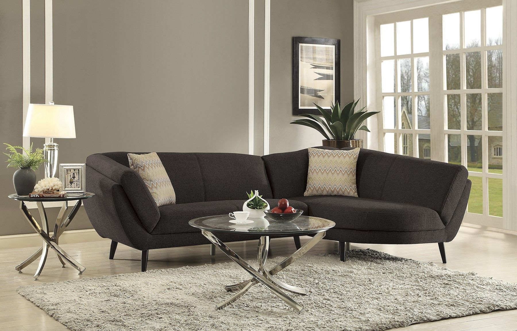 Coaster Norwood 500463 Mid Century Modern Grey Sectional Sofa Los