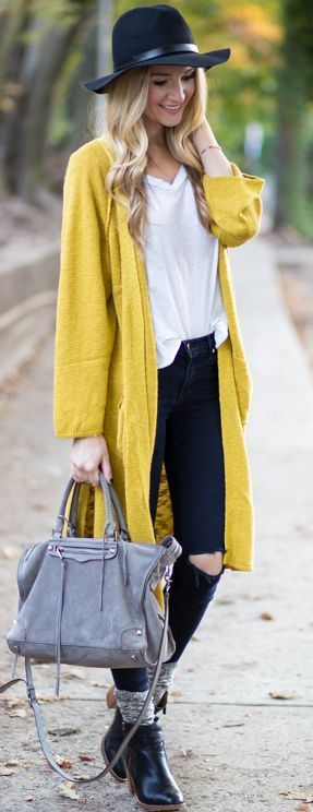 Blonde Expeditions Yellow Cardigan Fall Streetstyle Inspo ...
