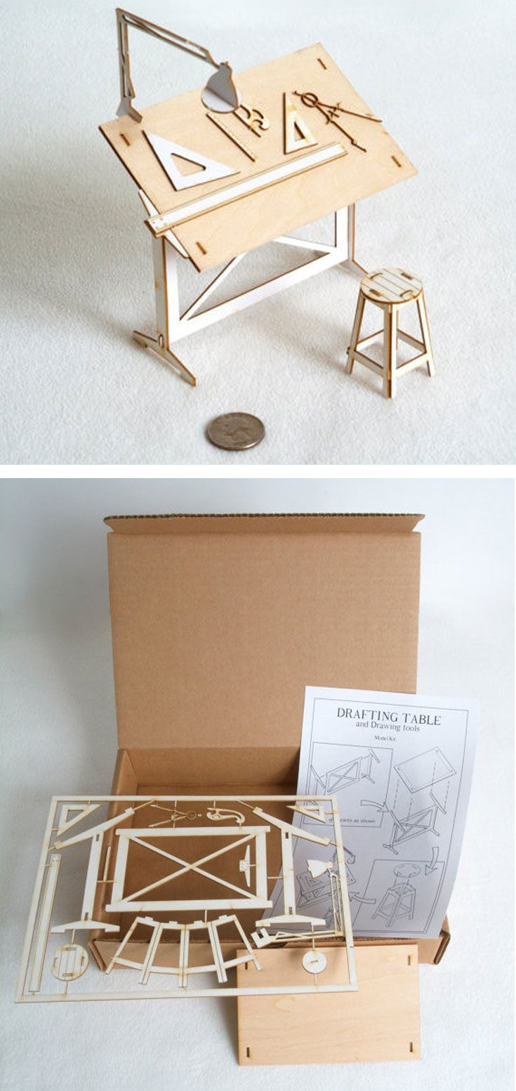 Miniature Drafting Table Model Kit Drawing tools Hard work and