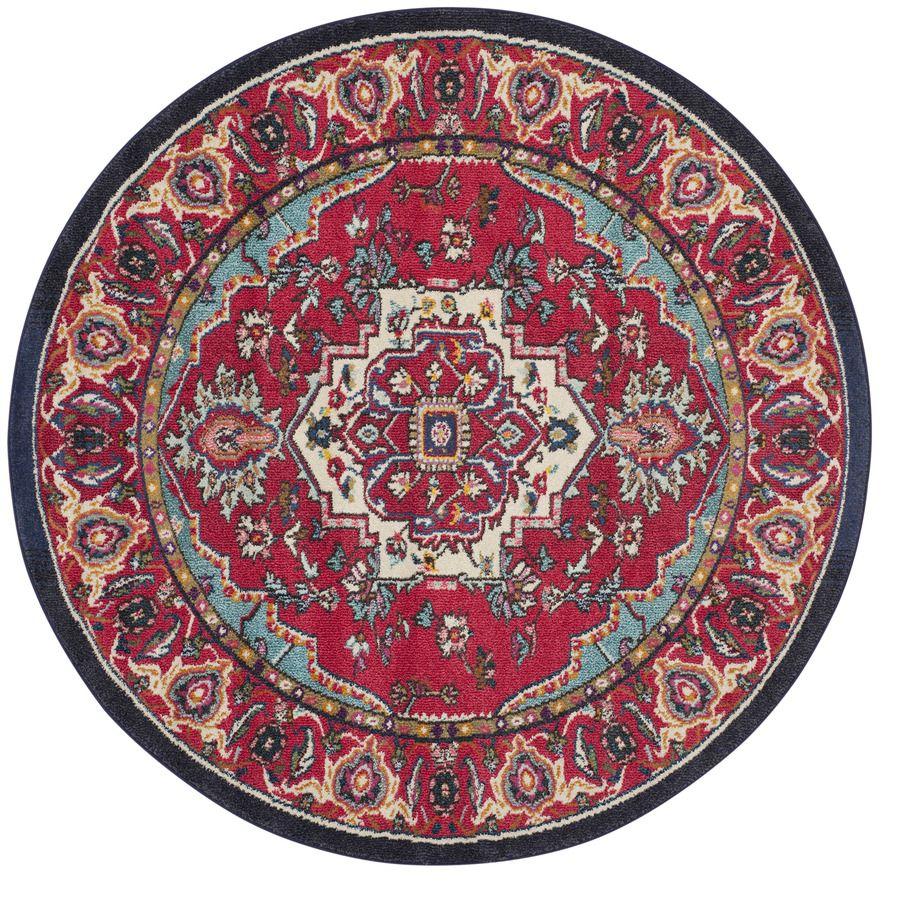Safavieh Monaco Heritage Red Turquoise Round Indoor Machine Made Oriental Area Rug Common 6 X Actual Ft W L Dia