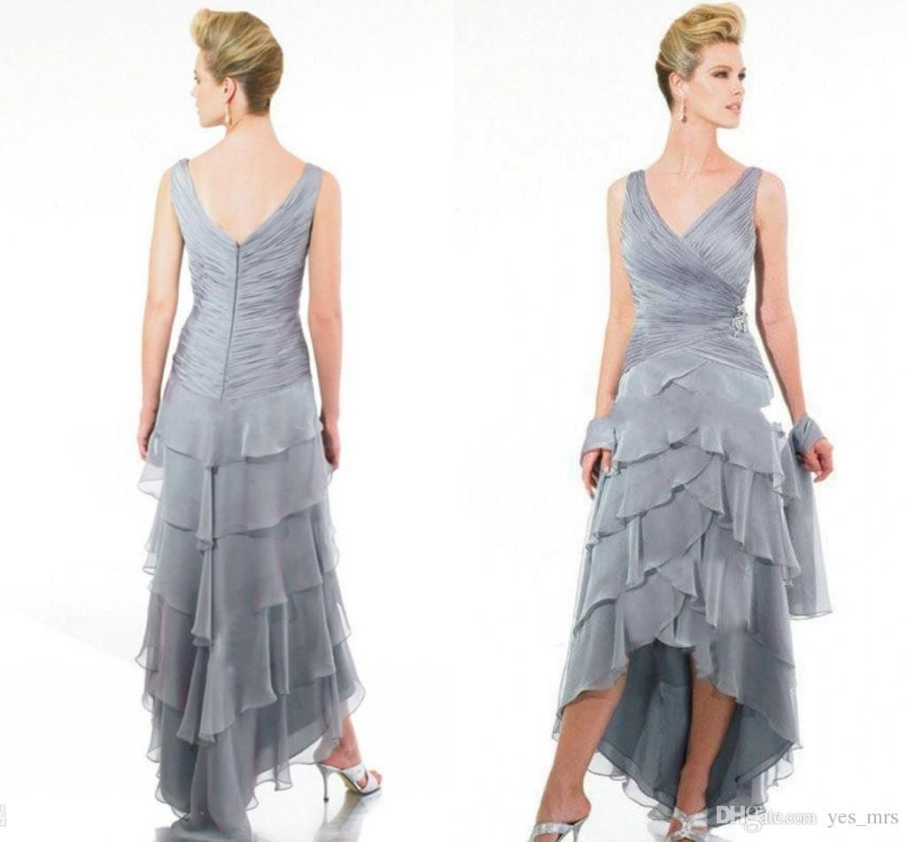 2016 Vintage Mother Of The Bride Dresses Women V Neck Silver Chiffon Hi Lo Tiered Formal Wedding Guest
