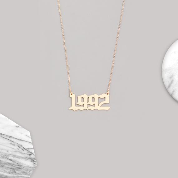 1992 Birth Year Necklace Old English Birth Year Necklace Gold Number Necklace Birthday Necklac Birthday Necklaces Horoscope Necklace Number Necklace