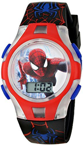 Marvel comics kids 39 spider man asm2kd012fl digital display quartz black watch with mini tin for Spiderman watches
