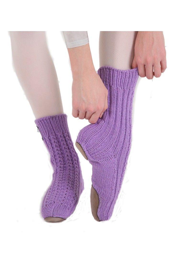 WOOL HANDMADE BALLET SLIPPER SOCKS BY