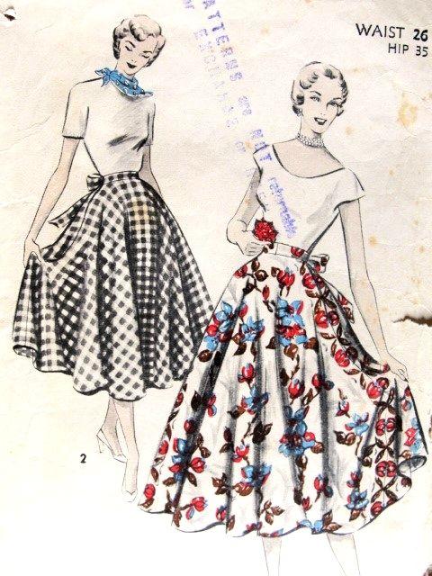 1950 Full Wrap Around Skirt Pattern Advance 5529 Easy To Sew Half ...