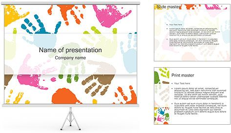 Hand prints powerpoint template modelos powerpoint pinterest hand prints powerpoint template toneelgroepblik Gallery