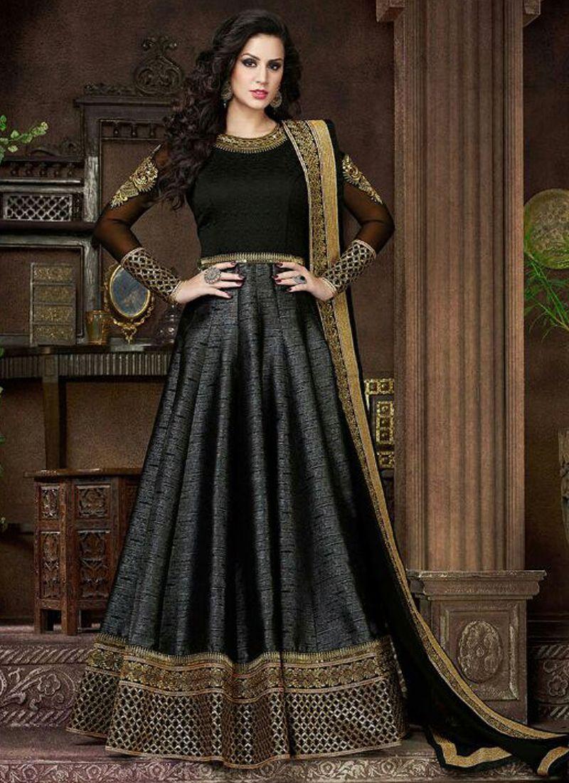 Black and Golden Silk Designer Gown | Anarkali | Pinterest ...