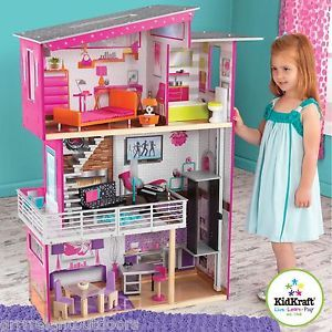 Kidkraft Luxury Dollhouse Gliding Elevator And 14 Pieces Of Colorful