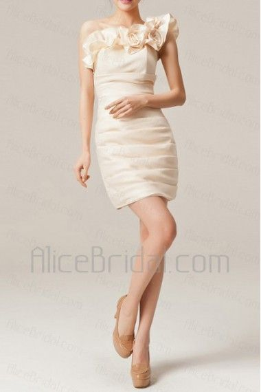 Satin One Shoulder Short Sheath Evening Dress with Handmade Flowers - Alice Bridal